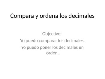 Comparing Decimals SPANISH