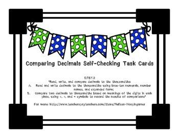 Comparing Decimals Self-Checking Task Cards CCSS Aligned 5NBT3