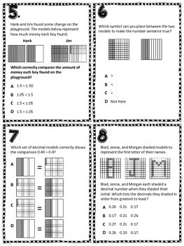Comparing Decimals TEKS 4.2F Task Cards