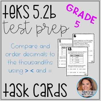 Comparing Decimals TEKS 5.2B Task Cards