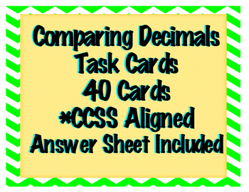 Comparing Decimals Task Card