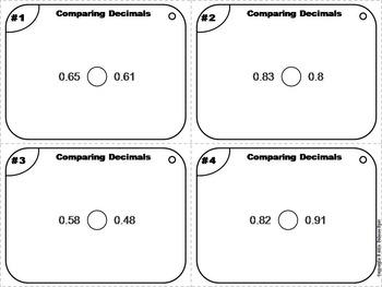 Comparing Decimals Task Cards/ Comparing Decimals Practice 3rd 4th 5th Grade