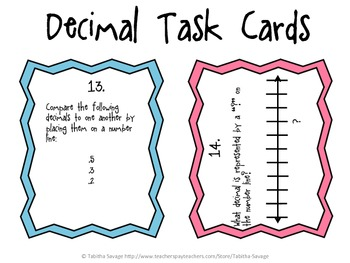 Comparing Decimals Task Cards 4.NF.7