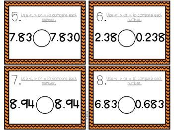 Comparing Decimals Task Cards 5.NBT.A.3.B