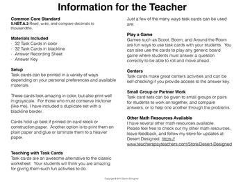 Comparing Decimals Task Cards 5th Grade CCSS