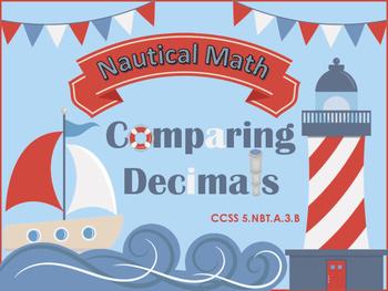 Comparing Decimals Task Cards - CCSS 5.NBT.A.3 - Nautical Themed
