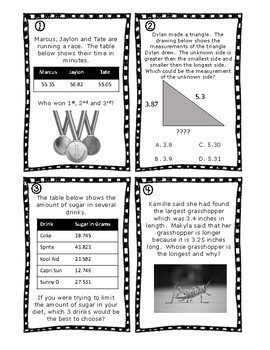 Comparing Decimals Task Cards Enhanced with Augmented Reality & QR Codes 5.2B