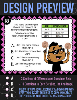 Comparing Decimals Task Cards ★ Google Classroom Word Problems ★ 4.NF.7 Activity