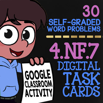 Comparing Decimals Task Cards ★ Self-Graded Google Classroom 4.NF.7 Assessment