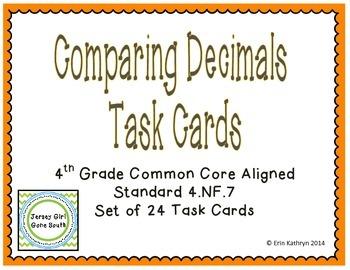 Comparing Decimals Task Cards- Set of 24