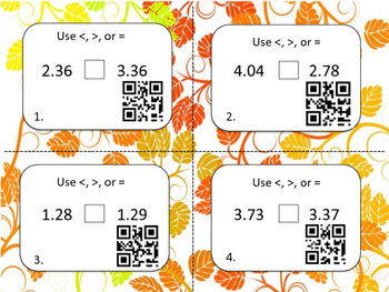 Comparing Decimals Task Cards with QR Scan