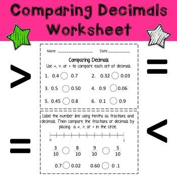 Comparing Decimals (Tenths and Hundredths) Worksheet