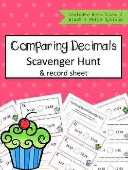 Comparing Decimals Scavenger Hunt