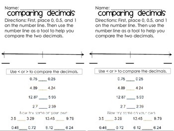 Comparing Decimals Worksheet