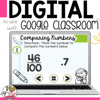 Comparing Decimals and Fractions Digital Task Cards for Google Classroom