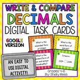 Comparing Decimals and Number Form Digital Task Cards Google Version