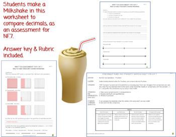Comparing Decimals by Making a Milkshake - Assessment Worksheet (4.NF.7)