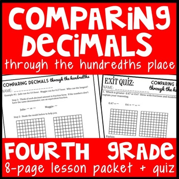 Comparing Decimals through the Hundredths Place, 4th Grade Lesson Packet