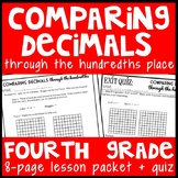 Comparing Decimals through the Hundredths Place, 4th Grade Lesson (4.NF.7)