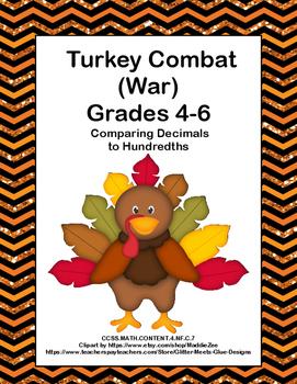 Comparing Decimals to Hundredths- Game-Turkey Combat -Grad