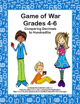 Comparing Decimals to Hundredths- Game of War- Grades 4-6- CCSS-Station Activity