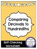 Comparing Decimals to Hundredths Joke Math NO PREP