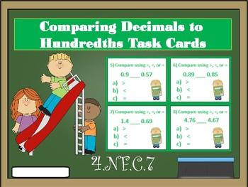 """Comparing Decimals to Hundredths """"Task Cards"""""""