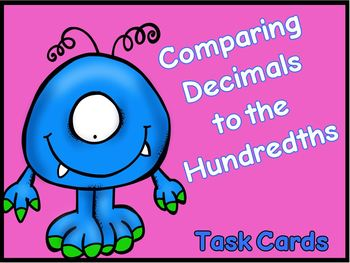 Comparing Decimals to the Hundredths Task Cards