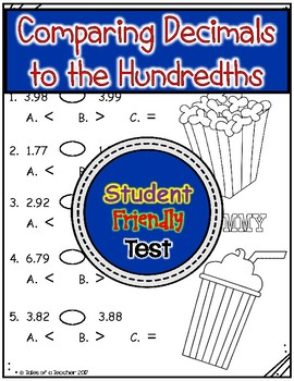 Comparing Decimals to the Hundredths Test