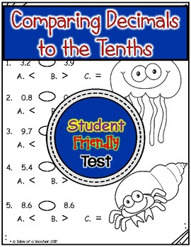 Comparing Decimals to the Tenths Test