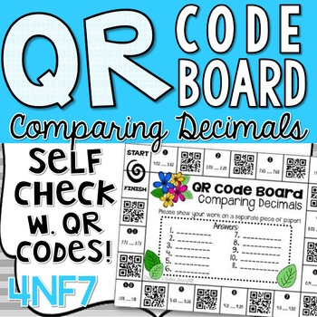Comparing Decimals to the Tenths and Hundredths - Common Core 4NF7 - QR Codes!