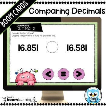 Comparing Decimals to the Thousandths Place Boom Cards
