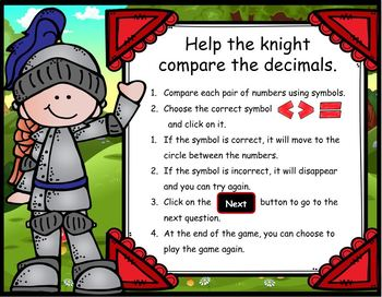 Comparing Decimals to the Thousandths ~ PPT Game