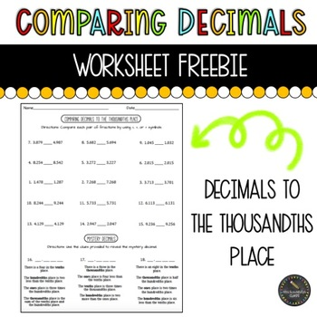 comparing decimals to the thousandths place worksheet freebie - Comparing Decimals Worksheet