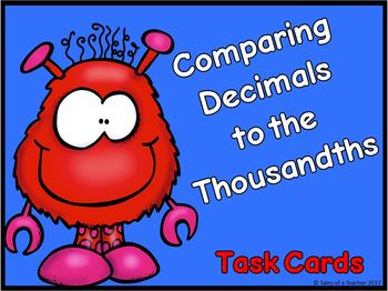 Comparing Decimals to the Thousandths Task Cards