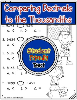 Comparing Decimals to the Thousandths Test