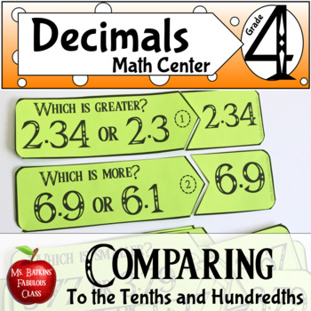 Comparing Decimals to the Tenths and Hundredths Math Center Activity