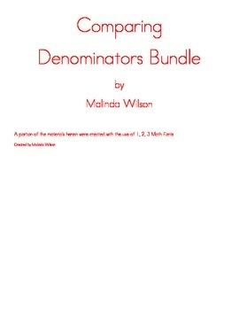 Comparing Denominators Worksheets