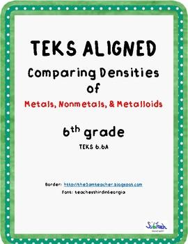 Comparing Densities of metals, nonmetals & metalloids (TEKS 6.6A)