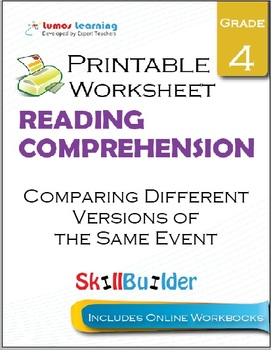 Comparing Different Versions of the Same Event Printable Worksheet, Grade 4
