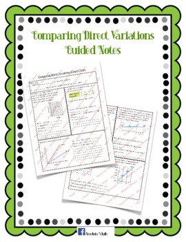 Comparing Direct Variations Guided Notes