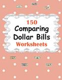 Comparing Dollar Bills Worksheets