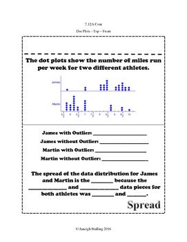 Comparing Dot Plots and Box Plots INB TEKS 7.12A