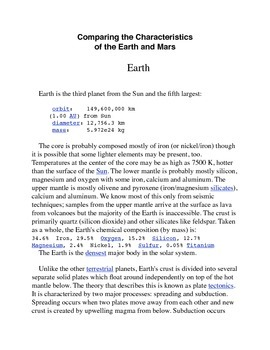 Comparing Earth and Mars Common Core Activity