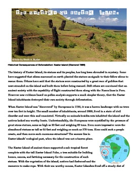 Comparing Easter Island and The Lorax ecological disasters nonfiction activity
