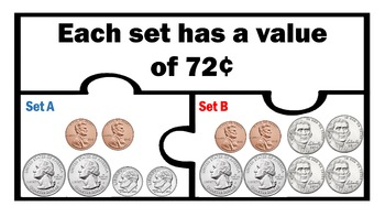 Comparing Equal Sets of Coins to One Dollar 1 Math work Station Activity 1st 2nd