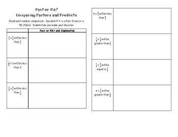 Comparing Fraction Factors and Products Fact or Fib