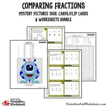 Comparing Fractions Task Cards and Worksheets