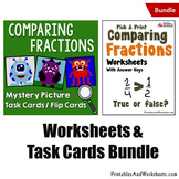 Comparing Fractions Task Cards and Worksheets, Coloring Fr