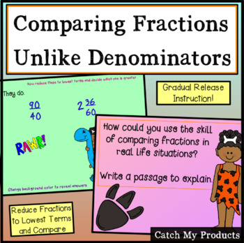 Comparing Fractions with Unlike Denominators for Power Point (Challenging)